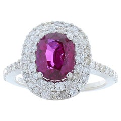 AIGS Certified 2.57 Carat No Heat Purplish Pink Sapphire & Diamond Cocktail Ring