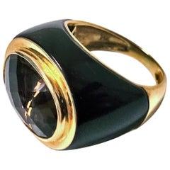 1970s Gold Enamel Topaz Ring