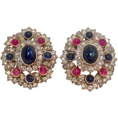 Patriotic 12 Carat Red Ruby, Blue Sapphire, and White Diamond 18K Gold Earrings