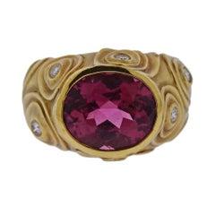 Angela Cummings 1980s Rubellite Diamond Gold Ring