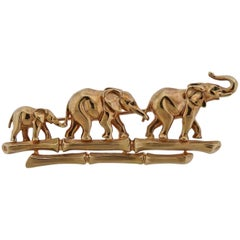 Cartier Elephant Emerald Gold Brooch Pin