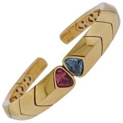 Marina B Blue Topaz Tourmaline Gold Cuff Bracelet
