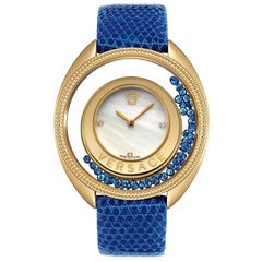 New Versace Destiny Spirit Sapphire Diamond Mother of Pearl Watch