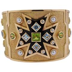 Verdura Maltese Cross Gemstone Pearl Diamond Gold Bracelet