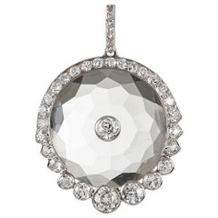Antique Rock Crystal and Diamond Pendant