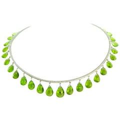 76.48 Carat Peridot Briolettes Diamond Collar