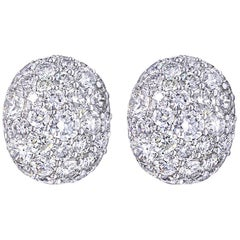3.54 Carat Cluster Diamond Stud Earrings 18 Karat White Gold