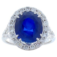 6.32 Carat Oval Blue Sapphire and Diamond Cocktail Ring in 18 Karat White Gold