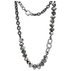 Tahitian Keshi Pearl Triple Diamond Link One of a Kind Chain Necklace