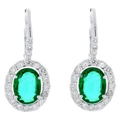 2.24 Carat Total Oval Emerald and Diamond Earrings in 18 Karat White Gold