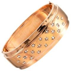 French Victorian Star Motif Diamond Bangle