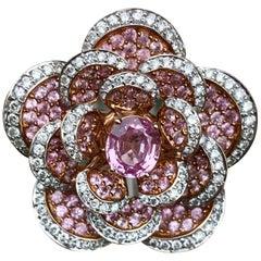 Custom 5.81 Carat Pink Sapphire and Diamond Flower Ring in 18 Karat Rose Gold