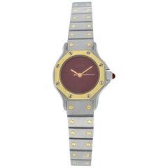 Ladies Cartier Santos Octagon 18 Karat Yellow Gold Automatic Burgundy Watch