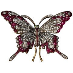 Vintage Diamond and Ruby Large Butterfly Brooch