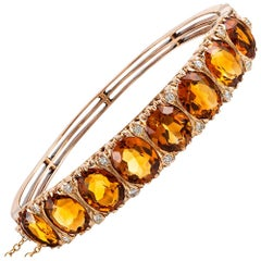"""English Carved"" Citrine and Diamond Bangle Bracelet"