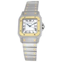 Authentic Ladies Unisex Cartier Santos Galbee Date 18 Karat Gold Automatic Watch