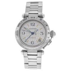Unisex Midsize Cartier Pasha GMT Steel Date Automatic Watch