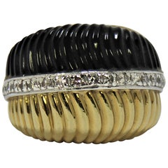 Fluted Onyx, Fluted Gold and Diamond Ring