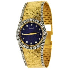 Piaget Ladies Gold Watch with Lapis Diamond Dial and Diamond Shoulders