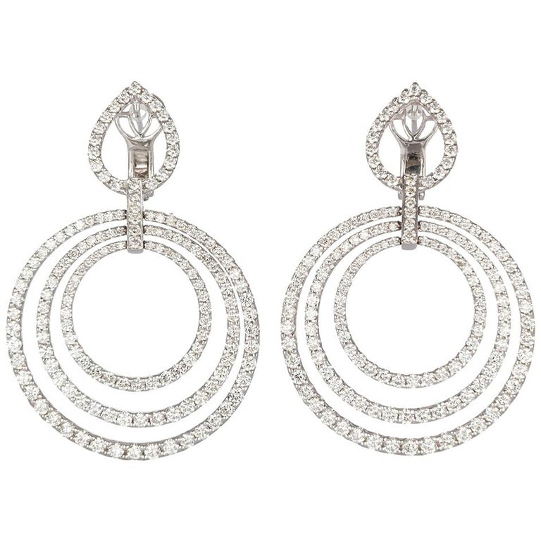 Concentric Circle Earrings: 18 Karat White Gold And Diamond Concentric Circle Dangle