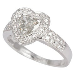 EGL Certified Platinum and Diamond Heart Halo Engagement Ring 1.45 Carat H/SI1