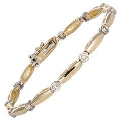 14 Karat Two-Tone White and Yellow Gold Diamond Bracelet