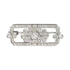Italian Art Deco Diamond White Gold Brooch