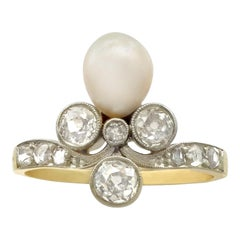 Antique 1910s 1.02 Carat Diamond and Pearl Yellow Gold Cocktail Ring