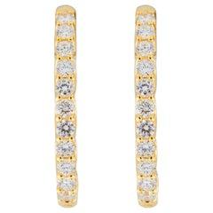 Jona White Diamond 18 Karat Yellow Gold Oval Hoop Earrings