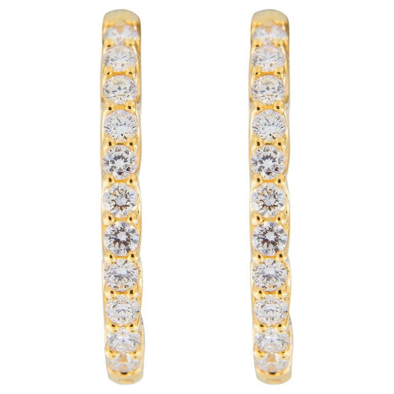 Jona White Diamond 18 Karat Yellow Gold Oval Hoop Earrings For Sale