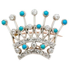 Victorian 2.40 Carat Diamond and Turquoise, Yellow Gold 'Crown' Brooch