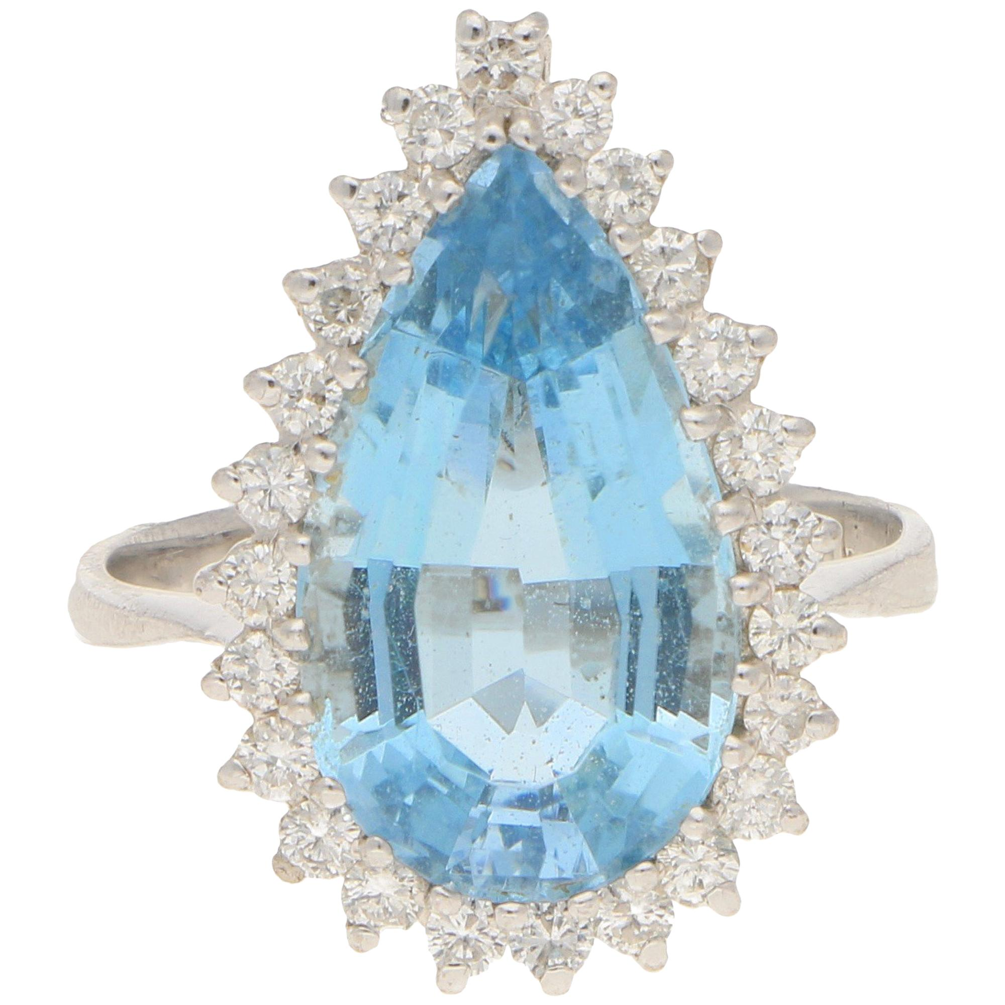 Aquamarine and Diamond Pear Shaped Cluster Cocktail Ring in 18k White Gold