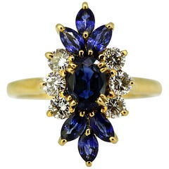 Vintage French 18k gold ladies ring with natural blue sapphires & diamonds, 1970