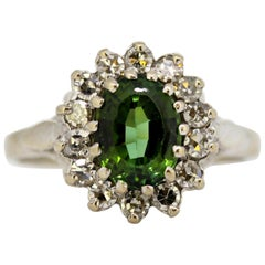 Vintage 18 Karat White Gold Ladies Ring with Green Tourmaline and Diamonds, 1977