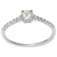 18 Karat White Gold 0.45 Carat H SI1 Round Brilliant Cut Diamond Engagement Ring