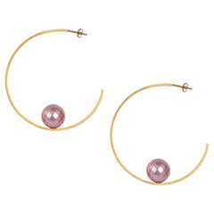 Sweet Pea 18k Yellow Gold Square Wire Hoop Earrings With Faceted Pink Pearls