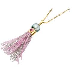 Pink Sapphire Tourmaline Black Pearl Tassel Pendant 18 Karat Gold