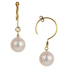 Sweet Pea 18k Yellow Gold Hoop Earrings with White Faceted Pearls and Diamonds