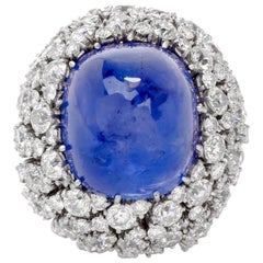 Natural No Heat Sugarloaf Sapphire Diamond Platinum Cocktail Ring