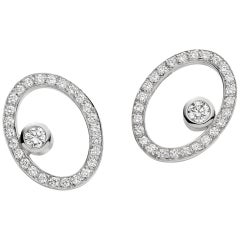 Diamond Floating Oval Earrings 18 Karat Gold