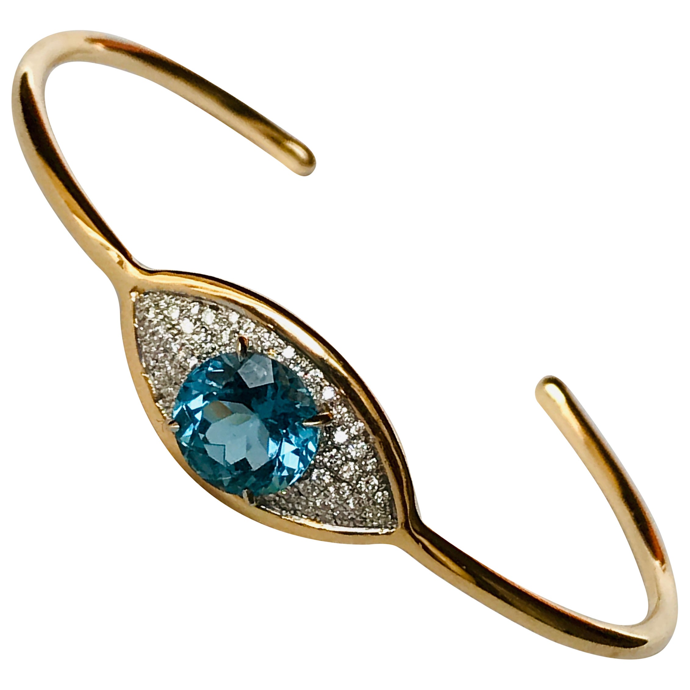 3c87369abf8ad 18K Rose Gold, Diamonds and Blue Topaz evil-eye Bracelet by Frederique  Berman