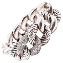 "David Yurman ""Belmont"" Curb Link with Diamonds Bracelet"
