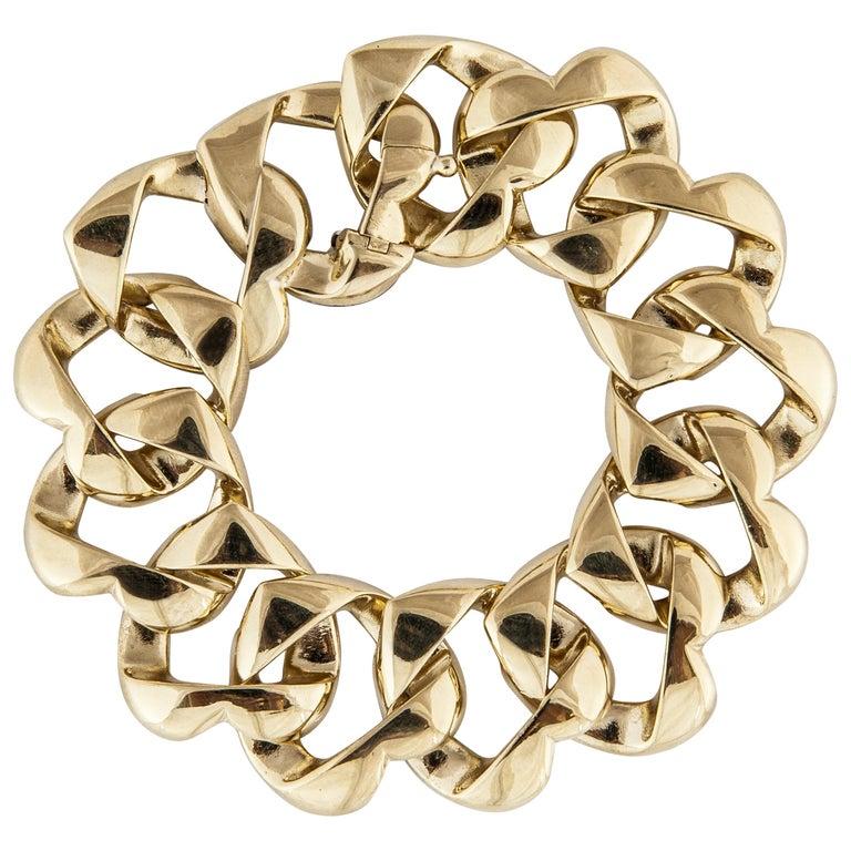 Tiffany & Co. 18 Karat Heart Link Bracelet For Sale