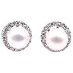 14 Karat White Gold Pearl Studs with Diamond Jackets