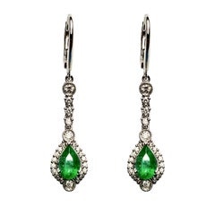 Emerald Diamond Dangling Earrings