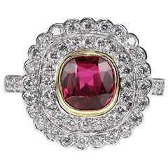 Certified Natural Unheated Ruby 1.45 Carat and Diamond 2 Row Cluster Ring