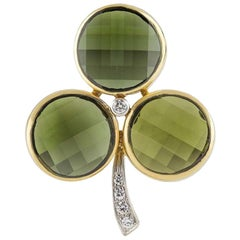 Pomellato Clover Brooch Tourmaline and Diamond