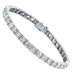 Raymond Yard Art-Deco-alte europäische Cut Diamond Line Tennisarmband in Platin