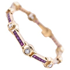 18 Karat Yellow Gold Ruby and Diamond Bracelet