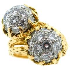 Van Cleef & Arpels Textured Diamond Bypass Ring